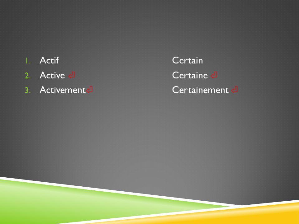 Actif Certain Active ⏎ Certaine ⏎ Activement⏎ Certainement ⏎