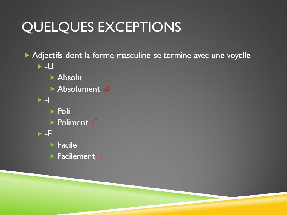 Quelques Exceptions Adjectifs dont la forme masculine se termine avec une voyelle. -U. Absolu. Absolument ⏎