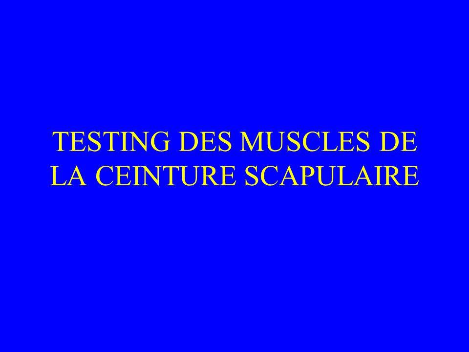 TESTING DES MUSCLES DE LA CEINTURE SCAPULAIRE