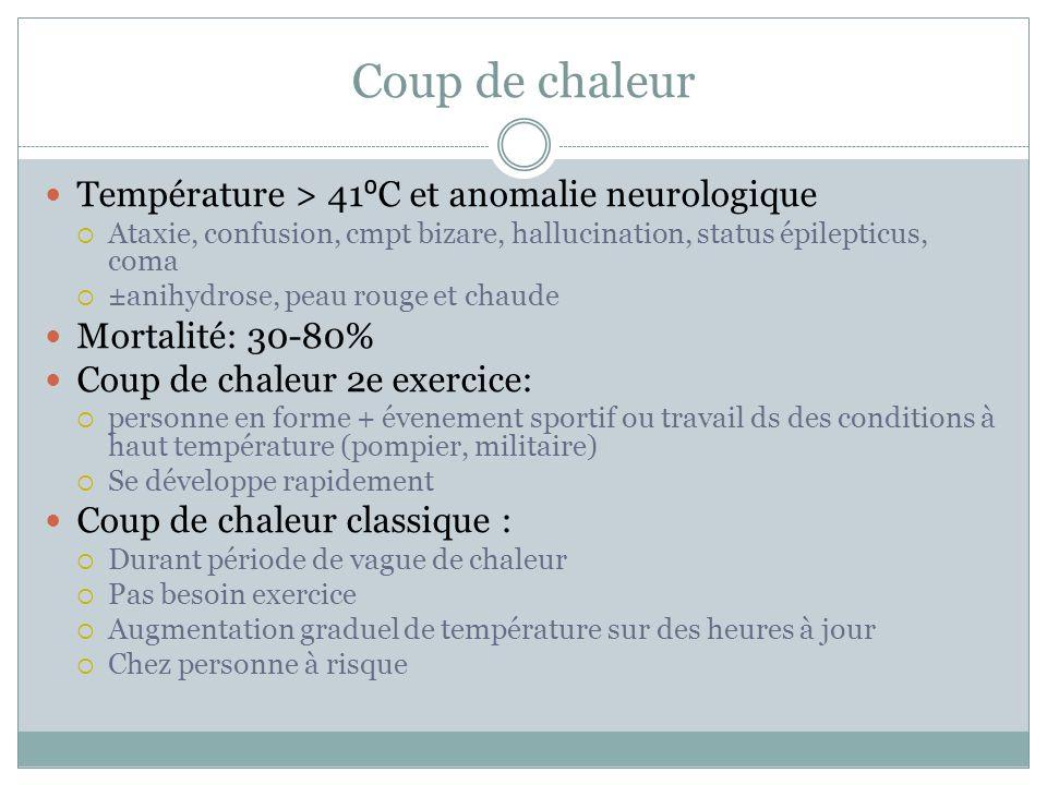 Coup de chaleur Température > 41⁰C et anomalie neurologique