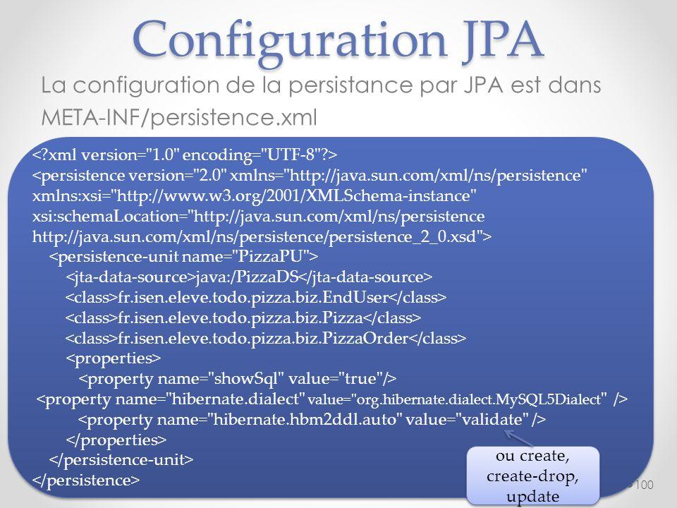 Configuration JPA La configuration de la persistance par JPA est dans META-INF/persistence.xml < xml version= 1.0 encoding= UTF-8 >