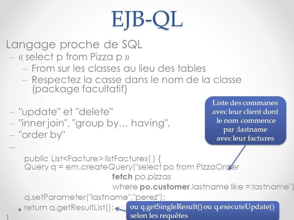 EJB-QL Langage proche de SQL