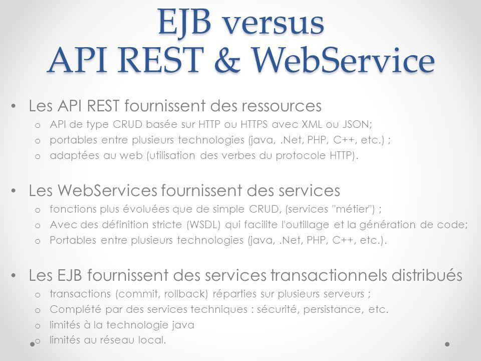 EJB versus API REST & WebService
