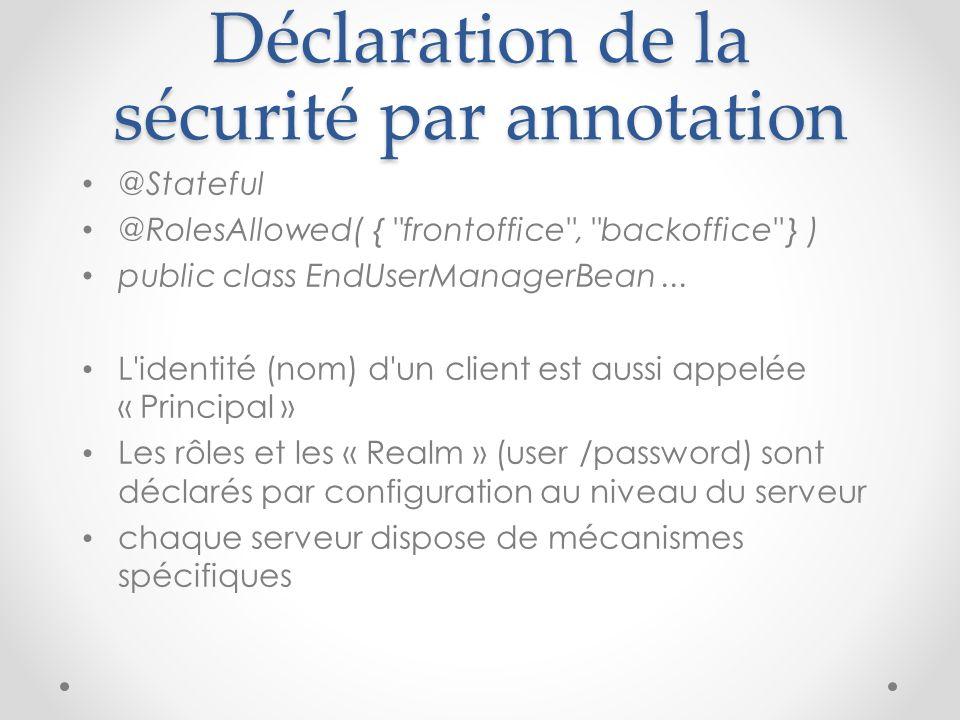 Déclaration de la sécurité par annotation
