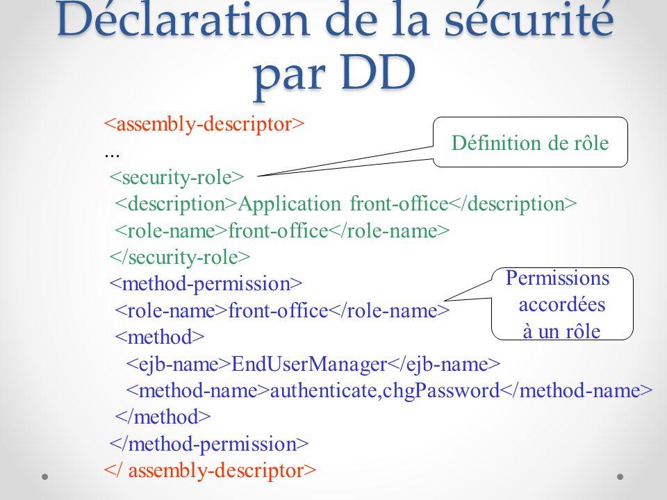 Déclaration de la sécurité par DD