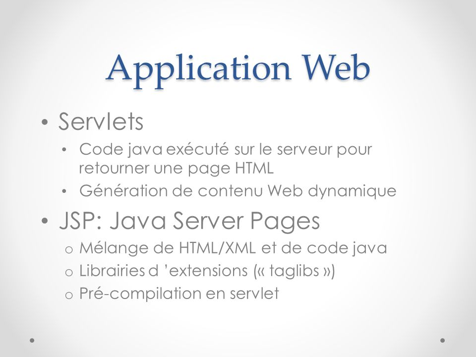Application Web Servlets JSP: Java Server Pages