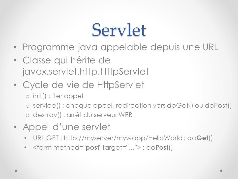 Servlet Programme java appelable depuis une URL