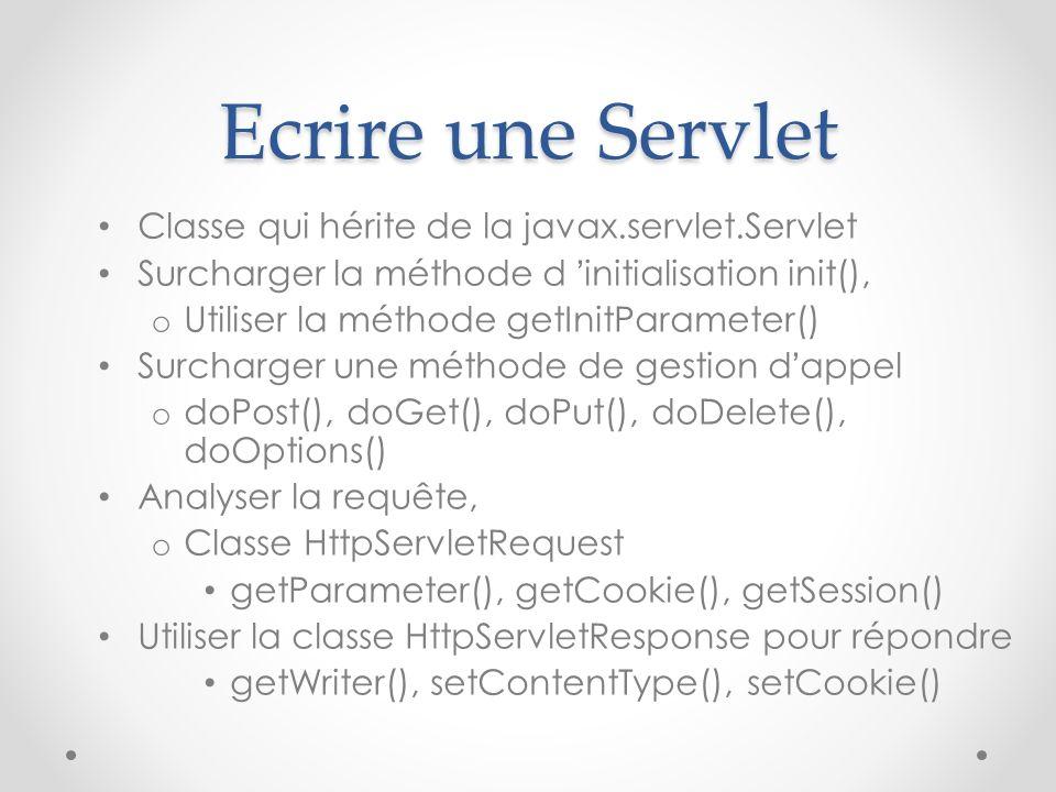 Ecrire une Servlet Classe qui hérite de la javax.servlet.Servlet