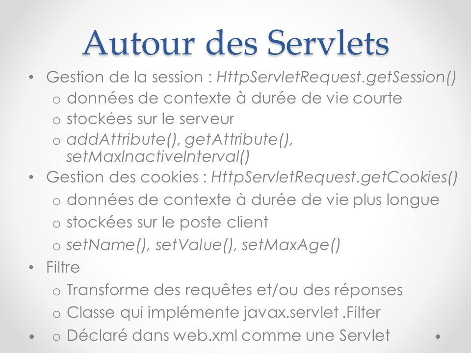 Autour des Servlets Gestion de la session : HttpServletRequest.getSession() données de contexte à durée de vie courte.