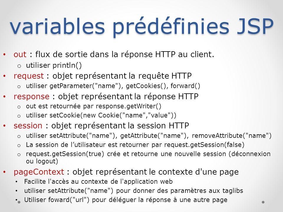 variables prédéfinies JSP