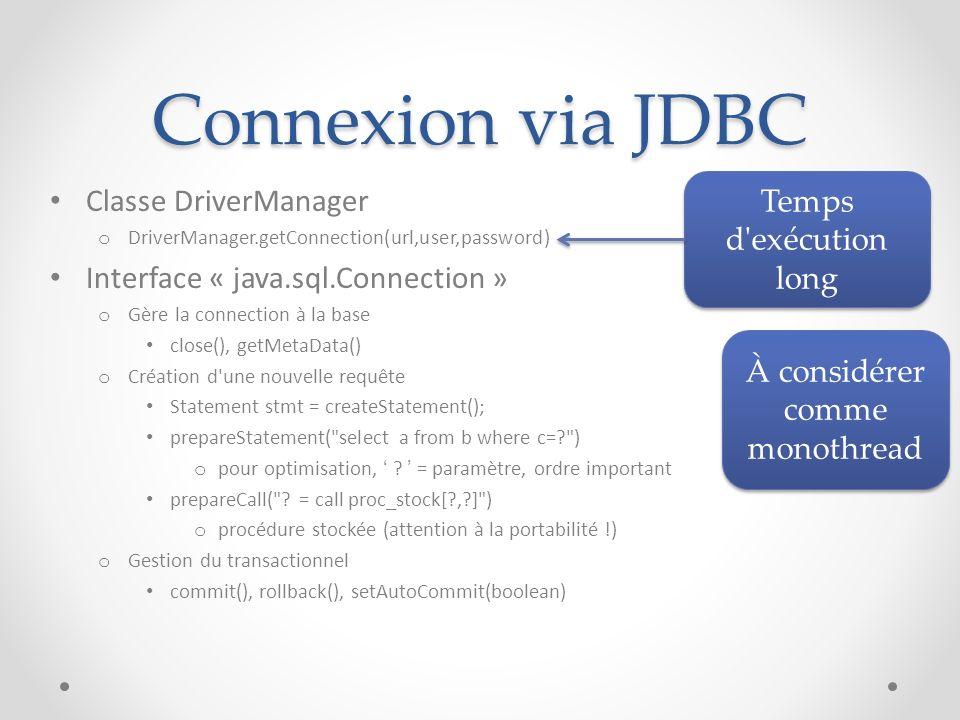 Connexion via JDBC Classe DriverManager Temps d exécution long