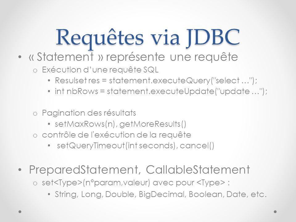Requêtes via JDBC « Statement » représente une requête