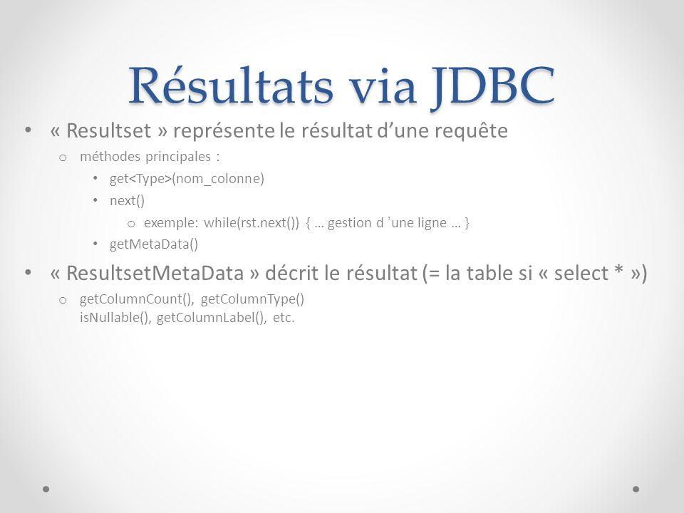 Résultats via JDBC « Resultset » représente le résultat d'une requête