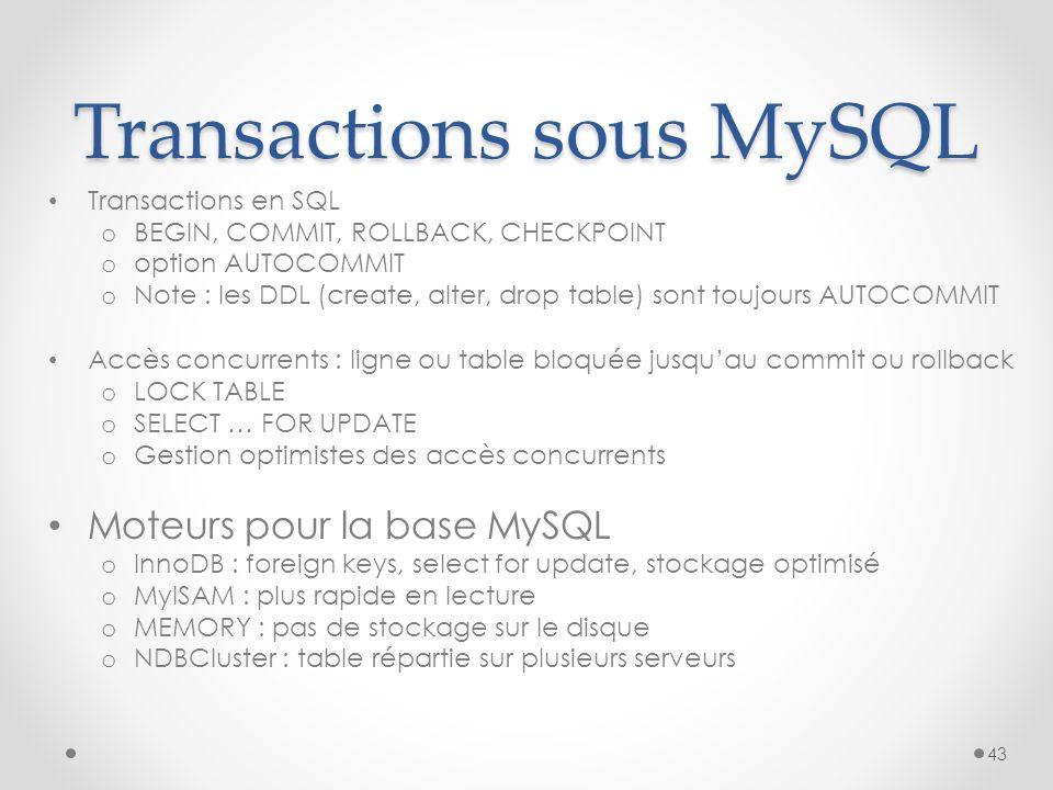 Transactions sous MySQL