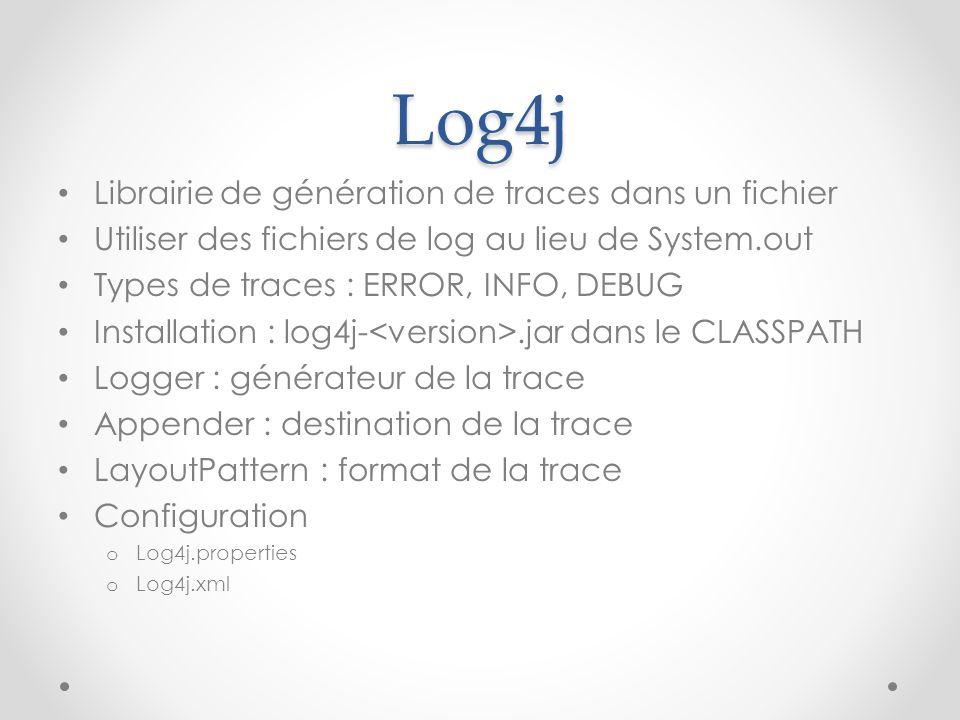Log4j Librairie de génération de traces dans un fichier