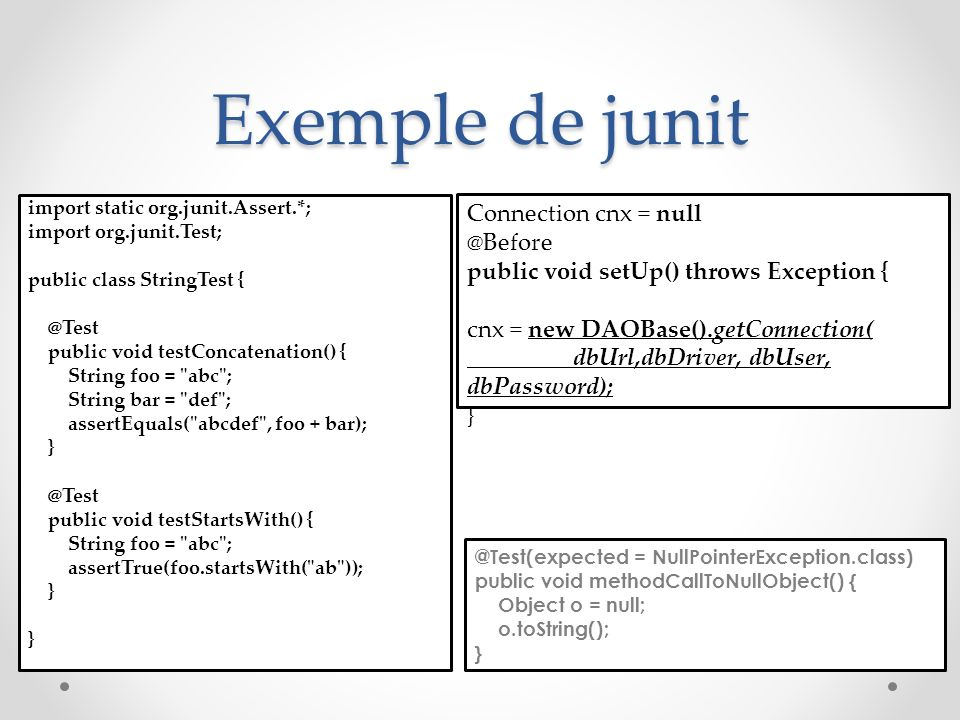 Exemple de junit Connection cnx = null @Before