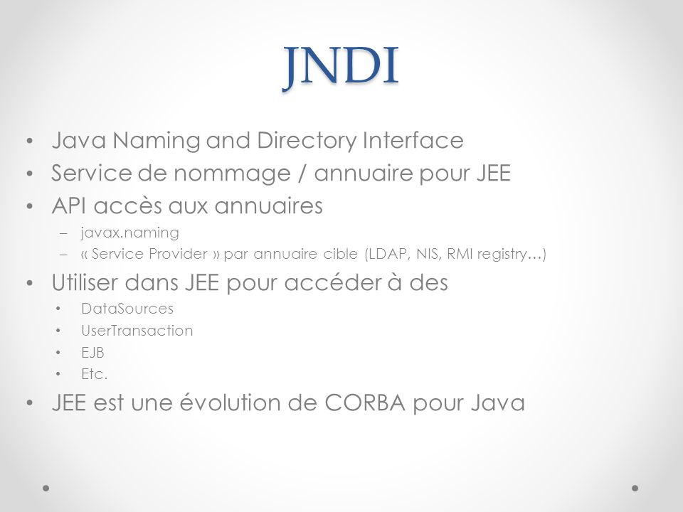 JNDI Java Naming and Directory Interface