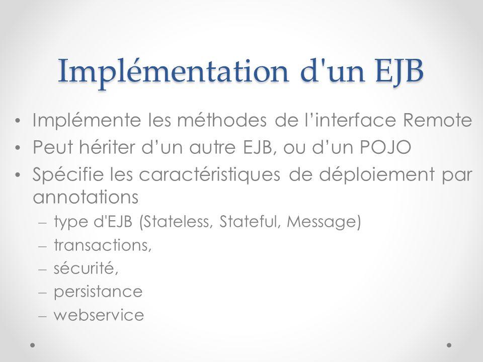 Implémentation d un EJB