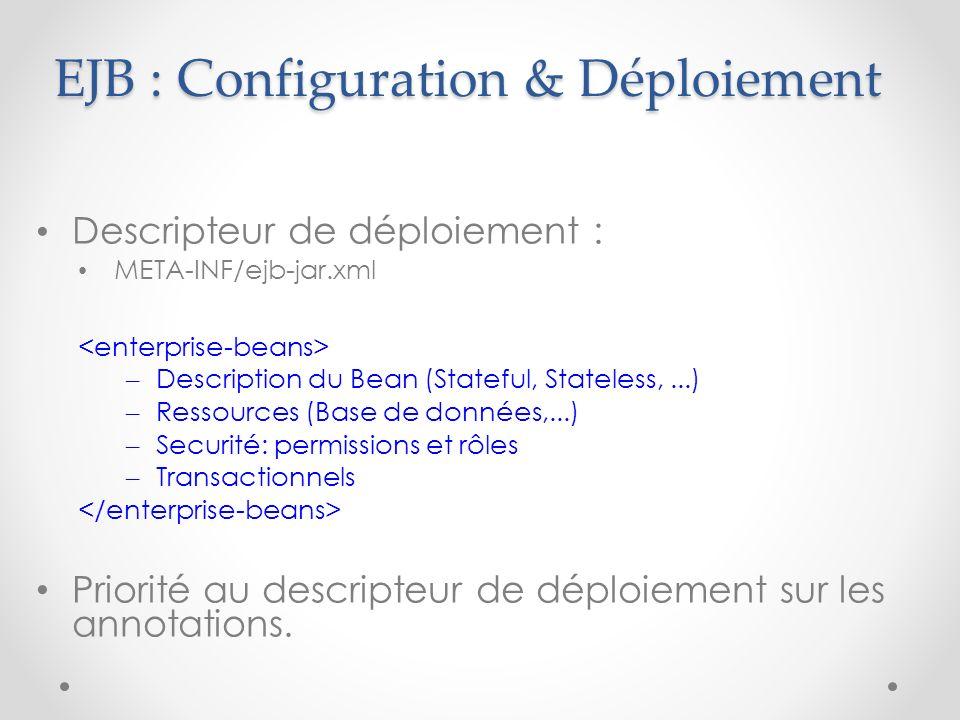 EJB : Configuration & Déploiement