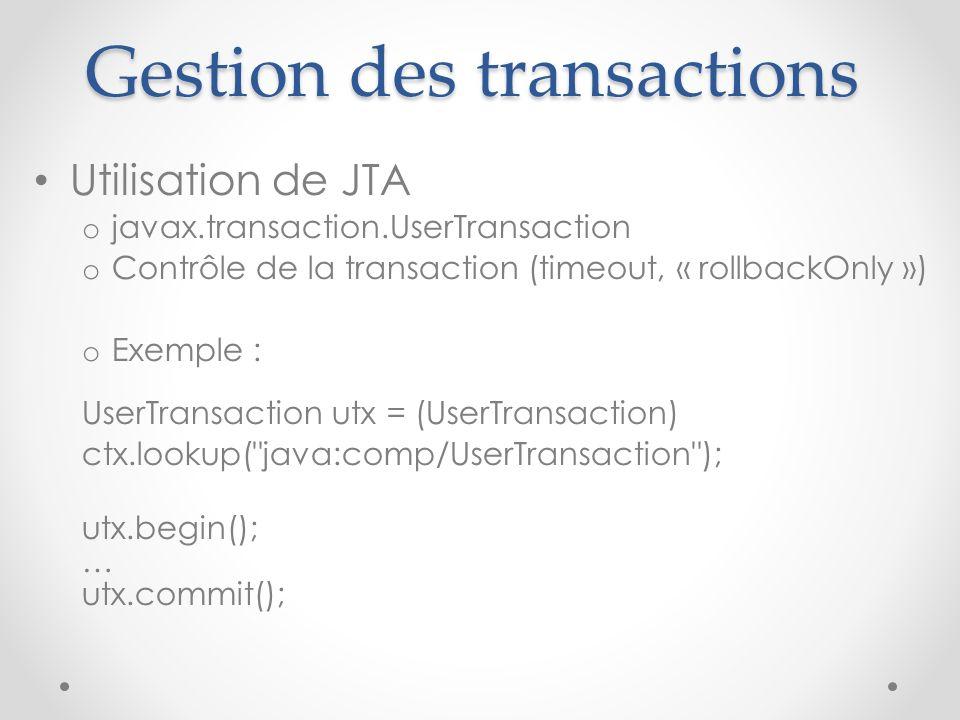 Gestion des transactions