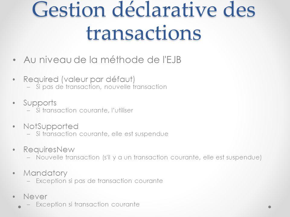 Gestion déclarative des transactions