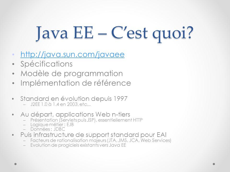 Java EE – C'est quoi http://java.sun.com/javaee Spécifications