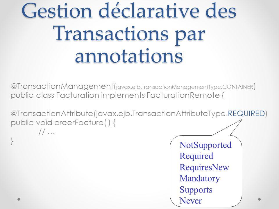 Gestion déclarative des Transactions par annotations