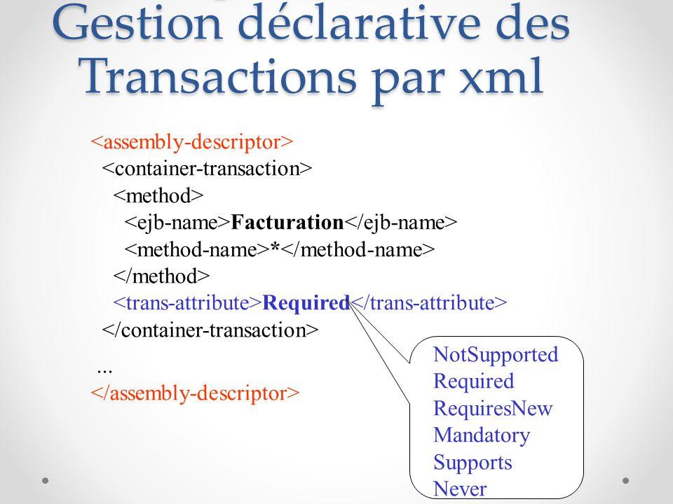 Descripteur de déploiement : Gestion déclarative des Transactions par xml