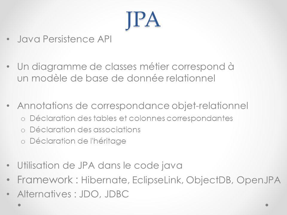 JPA Framework : Hibernate, EclipseLink, ObjectDB, OpenJPA