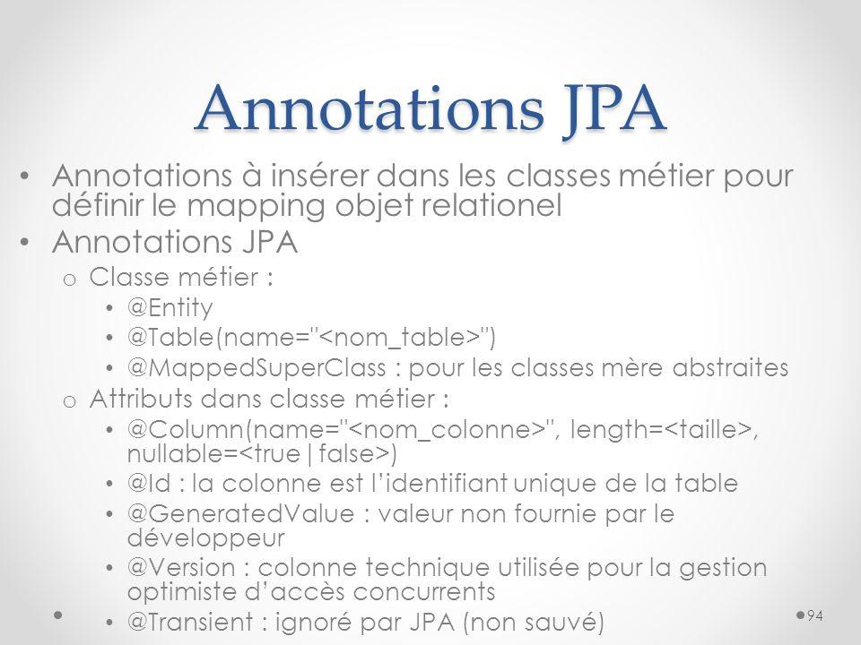 Annotations JPA Annotations à insérer dans les classes métier pour définir le mapping objet relationel.