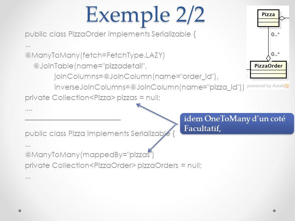 Exemple 2/2 idem OneToMany d un coté Facultatif,