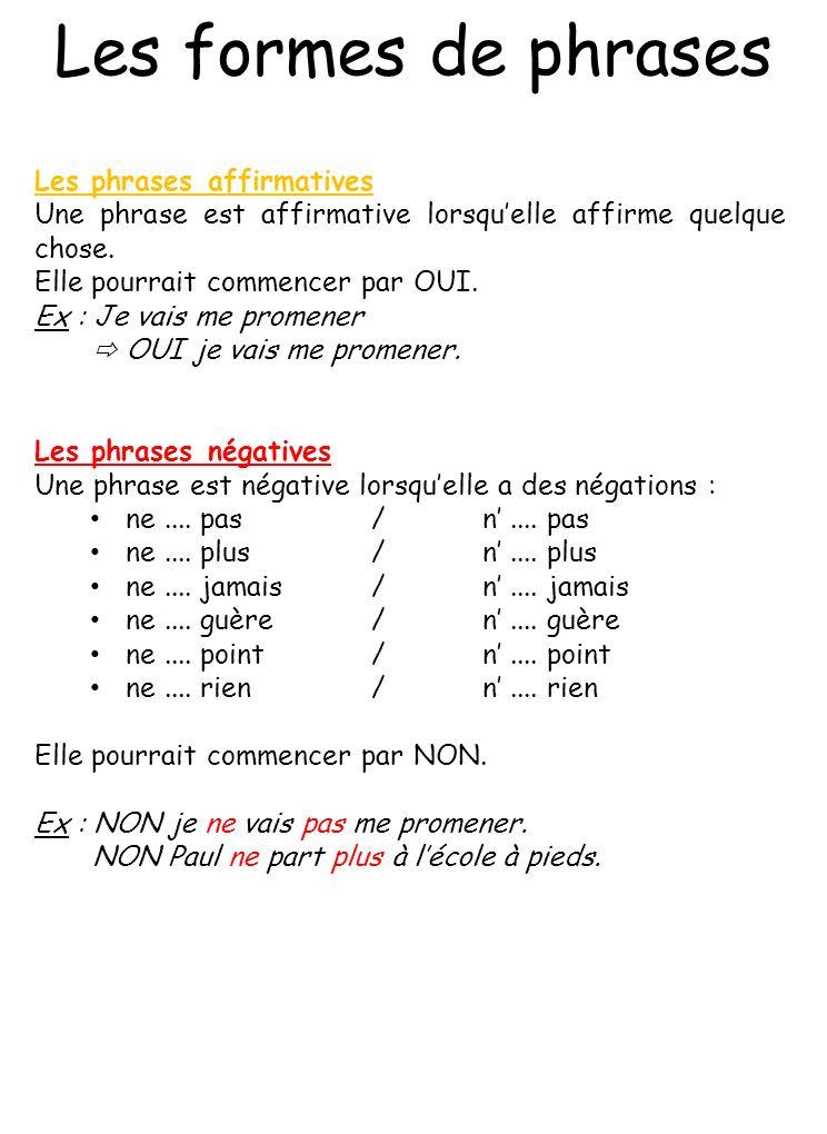 Les formes de phrases Les phrases affirmatives