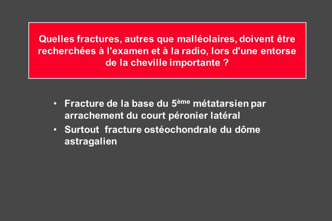 Quelles fractures, autres que malléolaires, doivent être recherchées à l examen et à la radio, lors d une entorse de la cheville importante