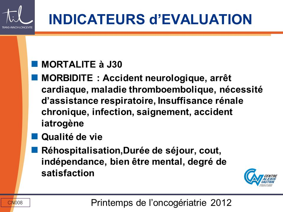 INDICATEURS d'EVALUATION