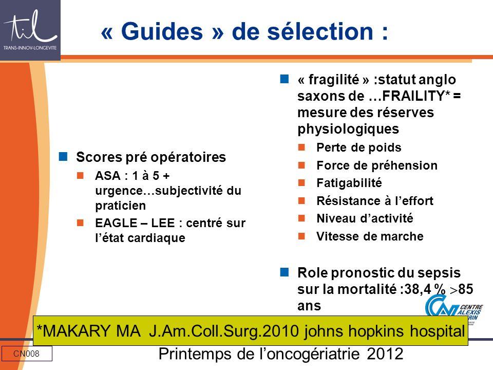 « Guides » de sélection :