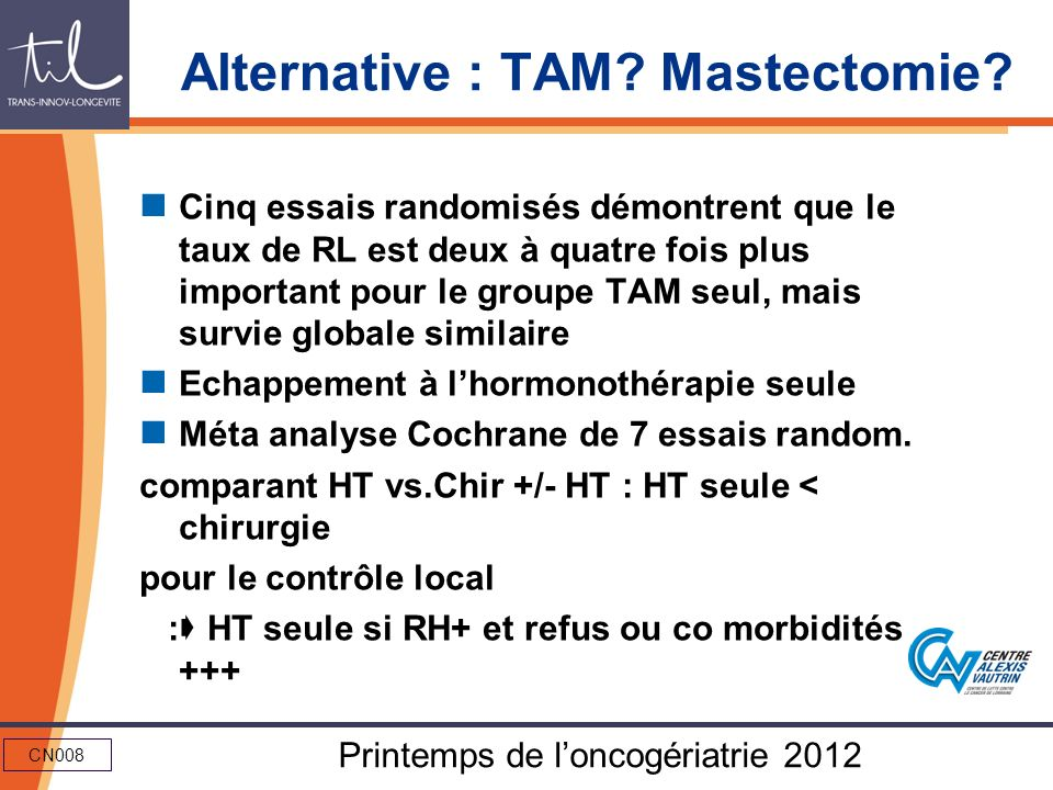 Alternative : TAM Mastectomie