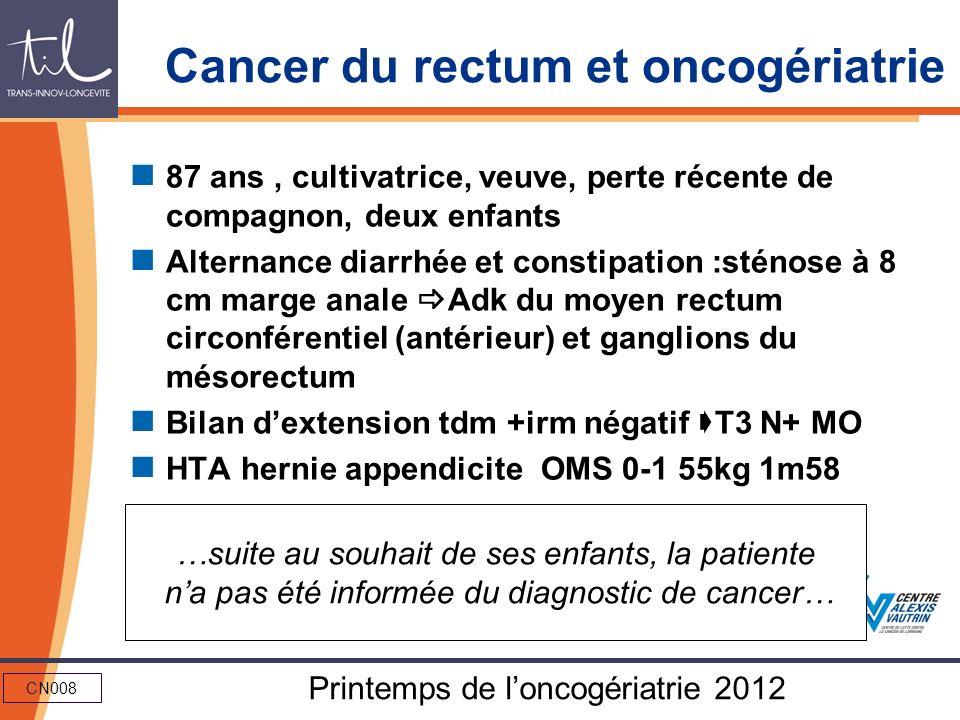 Cancer du rectum et oncogériatrie
