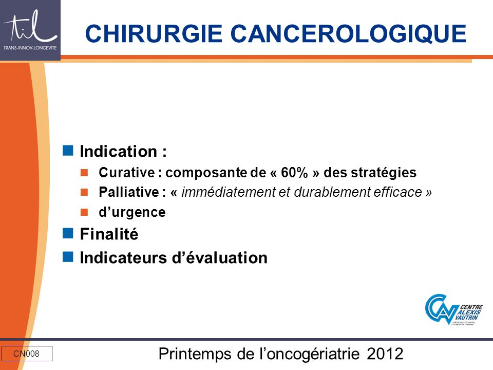 CHIRURGIE CANCEROLOGIQUE