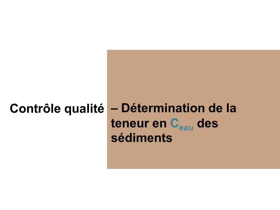 Contrôle qualité – Détermination de la teneur en Ceau des sédiments