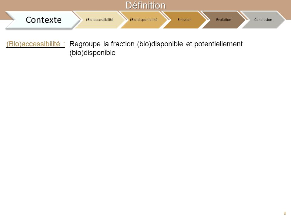 Définition Contexte (Bio)accessibilité : (Bio)accessibilité :