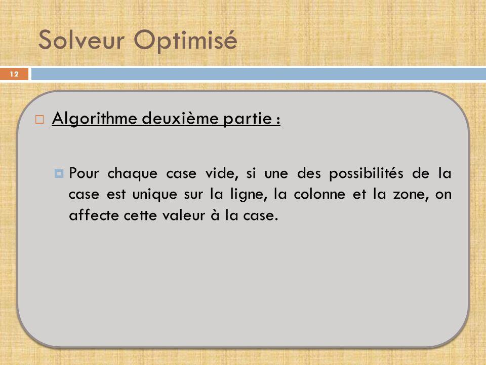 Solveur Optimisé Algorithme deuxième partie :
