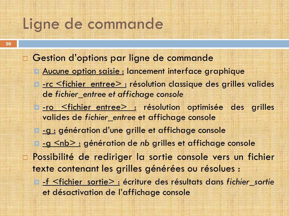 Ligne de commande Gestion d'options par ligne de commande