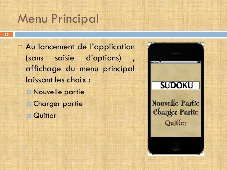 Menu Principal Au lancement de l'application (sans saisie d'options) , affichage du menu principal laissant les choix :