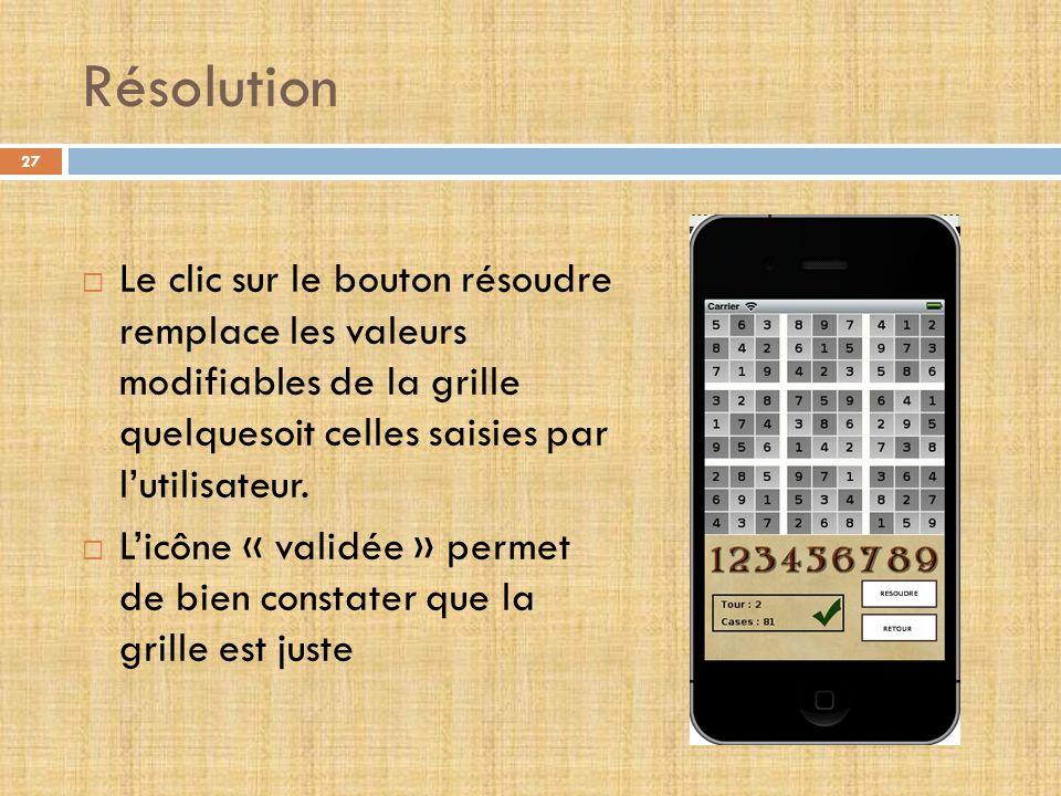Résolution Le clic sur le bouton résoudre remplace les valeurs modifiables de la grille quelquesoit celles saisies par l'utilisateur.