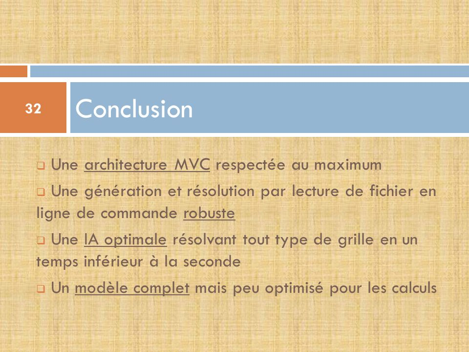 Conclusion Une architecture MVC respectée au maximum