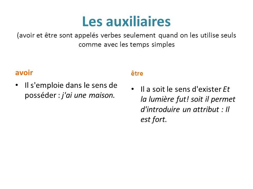 Les auxiliaires (avoir et être sont appelés verbes seulement quand on les utilise seuls comme avec les temps simples