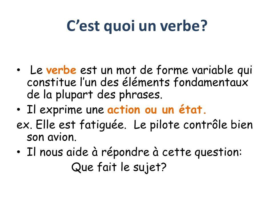 C'est quoi un verbe Le verbe est un mot de forme variable qui constitue l'un des éléments fondamentaux de la plupart des phrases.