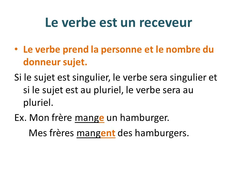 Le verbe est un receveur