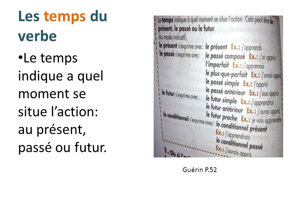 Les temps du verbe Le temps indique a quel moment se situe l'action: au présent, passé ou futur.