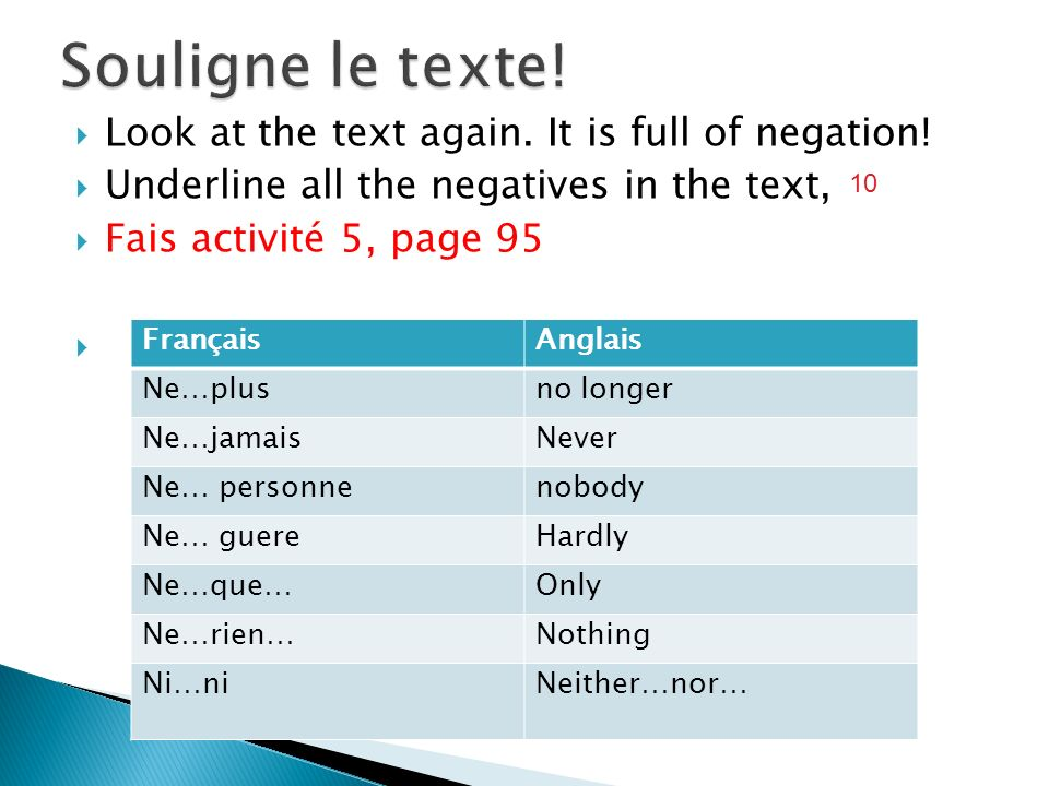 Souligne le texte! Look at the text again. It is full of negation!